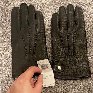 New Coach black leather deerskin gloves large